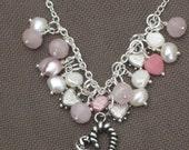 Necklace-Charm Necklace-Heart Charm Necklace-Silver Chain Necklace-Heart Necklace-Pearl Necklace-Valentine Jewelry-Valentine Necklace