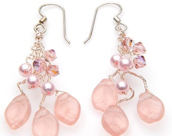 Pink Dangle Earrings with Leaves Crystals and Pearls, Leaf Earrings, Chandelier Earrings, Nature Jewelry