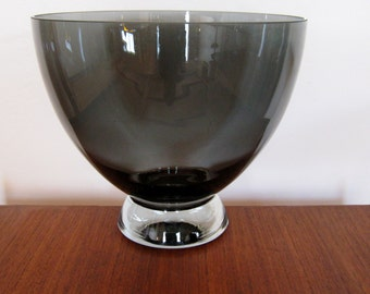 Holmegaard, Humppila and Orrefors compereable hand blown smokey glass salad bowl