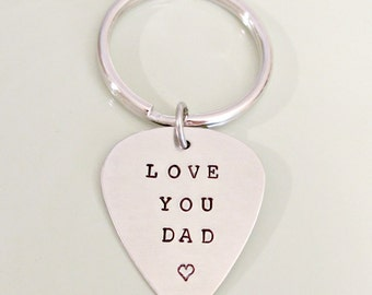 Personalized Daddy Key Chain - Love You Dad - Custom Hand Stamped Key Chain - Men's Gift - Father's Day Gift Idea