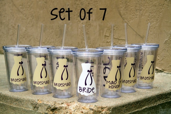 SALE, 7 Personalized Bridesmaid TumblersWedding Party Acrylic Cup ...