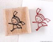 50% OFF SALE run cute girl Rubber Stamp