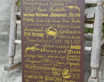 "15""x24"" Louisiana authentic food cuisine dishes handmade wood subway sign"