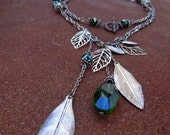 The Hippie- Green glass crystals, silver leaf, leaves, toggle clasp, swarovski crystals long or short necklace