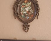 set of two small antique metal photo frames