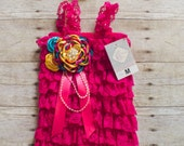 SET: Petti Romper and Matching Headband - Hot Pink, Bright Yellow, Turquoise Set - Photo Prop - First Birthdays - Cake Smash - Outfit