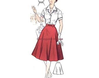 Plus Size (or any size) Vintage 1950s Blouse Pattern - PDF - Pattern No 64a Vicki Blouse