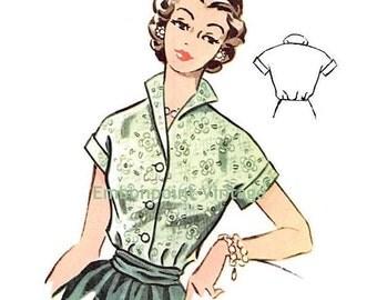Plus Size (or any size) Vintage 1950s Blouse Pattern - PDF - Pattern No 99 Marcia