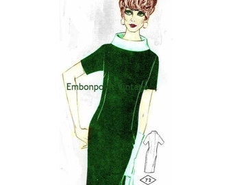 Plus Size (or any size) Vintage 1969 Dress Pattern - PDF - Pattern No 72 Joanna