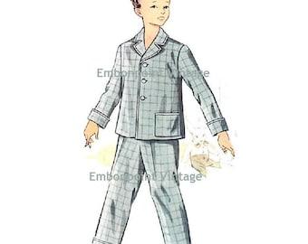 Plus Size (or any size) Vintage 1950s Boy's Pyjama Pants Pattern - PDF - Pattern No 190b Kevin Pyjama Pants