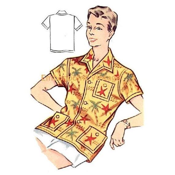 Plus Size (or any size) Vintage 1950s Men's Shirt Pattern - PDF - Pattern No 181 Paul