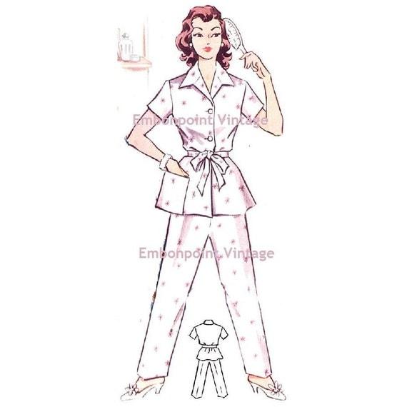 Plus Size (or any size) Vintage 1950s Pyjama Shirt Pattern - PDF - Pattern 225a Veronica Shirt