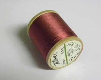 Vintage Talon  Pure Silk Hand Sewing Embroidery Thread 100 Yd. Wooden spool Shade 435 Bordeaux Red