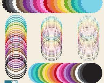 120 Simple Scallop Digital Frames - Mix and Match - card design, invitations, paper crafts, web design - INSTANT DOWNLOAD
