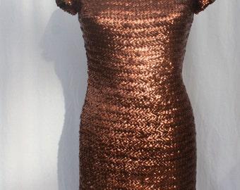 Bronze Sequined Mini Dress, Sandra Sage, vintage 1960s, size small (4, 6, 8)