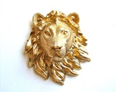 Faux Taxidemy Small Lion Head Wall Mount wall hanging home decor Leonard the Lion in shiny gold