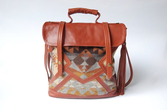 Brown leather and Pendleton tote-  'The Coastal Tote Bag'  -discontinued pattern-