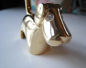 Vintage Gold Tone Brass Dog Ring Holder w/ Rhinestone Eyes