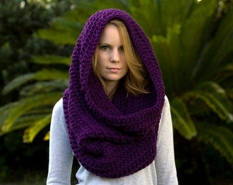 Hooded Cowl, Oversized Cowl, Chunky Cowl, Women's Accessories, Infinity Scarf, Eggplant Purple Cowl