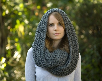 Chunky Gray Infinity Scarf, Charcoal Crochet Oversized Cowl, Women's Winter Accessories