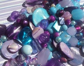 50% OFF SALE Blue Raspberry Aqua Blue Lavender Purple Shell, Glass, Plastic Beads 100 Piece Set 4-30mm