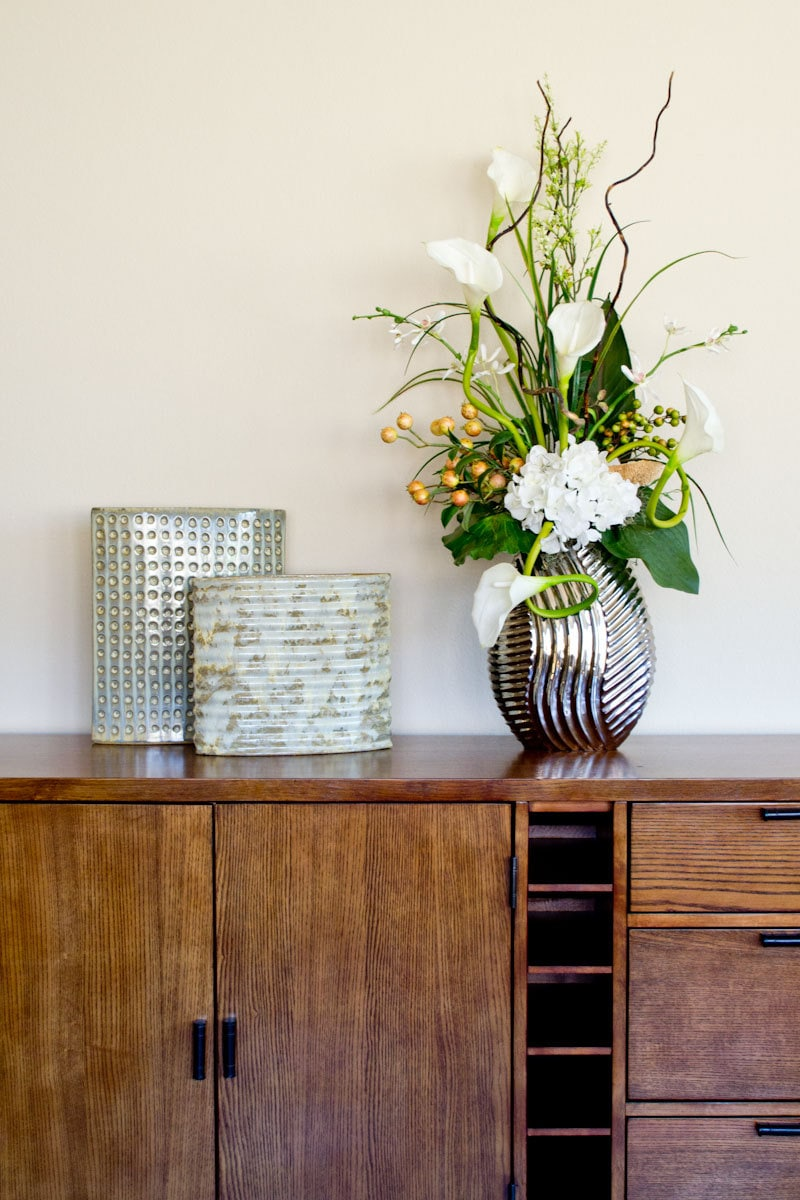 Tall Contemporary Floral Arrangement With Lilies
