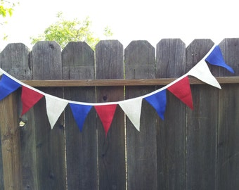 Red, White and Blue Burlap Banner