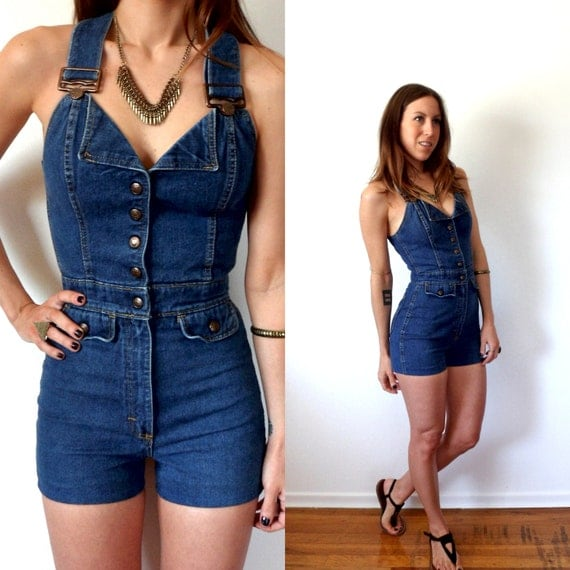 Vintage Denim Overall Shorts Womens Romper Blue Jean Jumpsuit