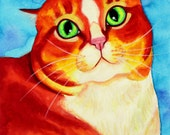 Pop Art Cat Painting 8x10 cat art 11x14 Cat Art Print Orange Cat Watercolor Painting Cat Illustration Cat Watercolor Print Cat Wall Art