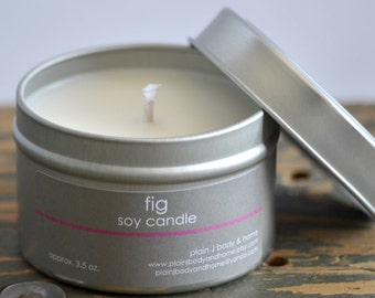SALE - Fig Soy Candle Tin 4 oz. - fig candle - fruit candle - summer candle - spring candle - womens candle - musk candle - coconut candle
