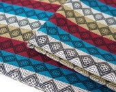 Aztec Fabric, Peruvian Fabric, Woven, Maroon Blue Diamonds, 2 Yards