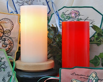 One Vanilla Scented Red or Creamy White Flameless LED Candle With Timer Mode to use with Frogbirds House Embroidered Candle Wraps.