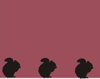 Squirrels Wall Vinyl Decals - Squirrels in A Row Decal - Floorboard Squirrels - Behind the Couch Squirrel Stickers
