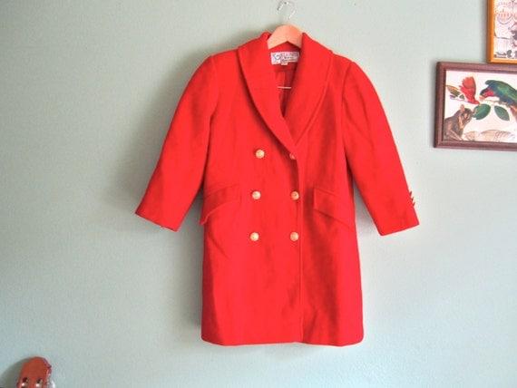 Items similar to Vintage Red Jacket -Shrunken Arm- Red Peacoat - Women