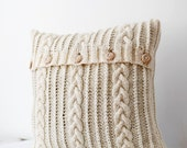 Cable hand knitted  pillow wool cover - milk white decorative pillows case - handmade home decor 26x26   0188