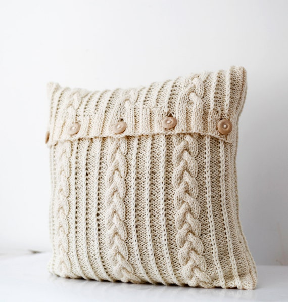 Knitting Patterns For Throw Pillows : Cable hand knitted pillow wool cover milk white decorative