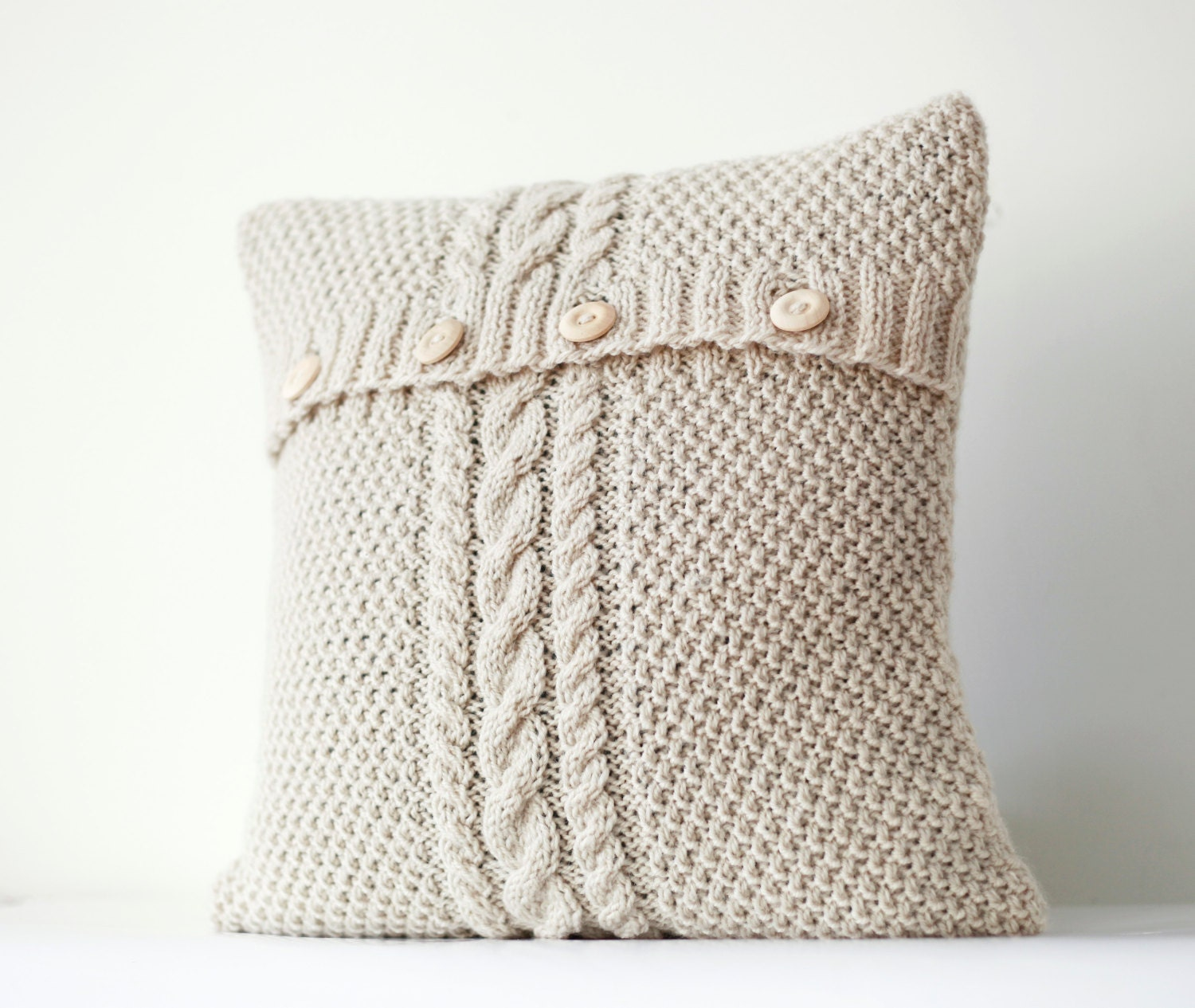 How To Make Throw Pillow Covers By Hand : Cable hand knitted pillow cover ivory decorative pillows