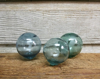 Collections of Vintage Glass Fishing Floats (NEW SIZE!) -- Three Japanese Net Floats