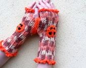 Fingerless Gloves,Gloves, Crochet Gloves, Winter 2013 Glove,  Arm warmers... Orange Brown....
