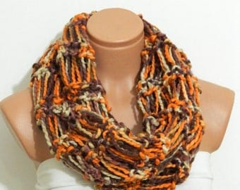 Knitted infinity Scarf Block Infinity Scarf. Loop Scarf, Circle Scarf, Neck Warmer. multi-color Crochet Infinity