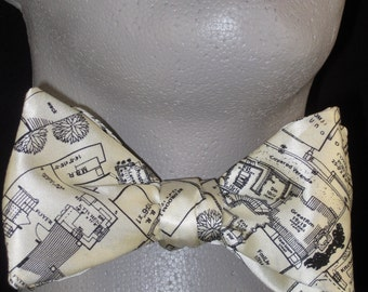 Mens Freestyle BOW TIE SILK Floor Plan Landscape Architect's Blue Print in black and white Self Tie Your Own BowTie