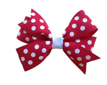 Red polka dot bow - red & white bow, toddler bow