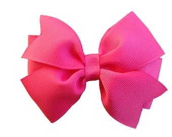 Camelia rose hair bow - rose pink bow, 4 inch hair bow, pinwheel bow, girls hair bows, girls bows, pink hair bows, toddler bows, hair clips