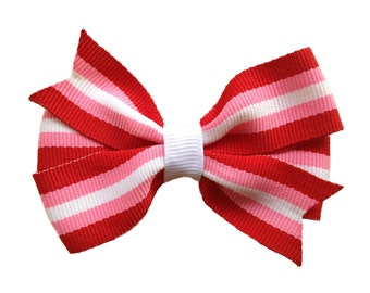 Pink, red & white striped hair bow - Valentines hair bow, girls bows, hair bows, toddler bows, 3 inch bows, girls bows, baby bows