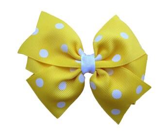 Yellow polka dot hair bow - yellow hair bow, 4 inch bows, pinwheel bows, yellow bows, girls hair bows, girls bows, toddler bows