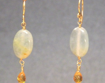 Calcite with Citrine drop earrings Victorian 276