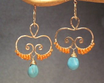 Hammered swirls with carnelian and turquoise Luxe Bijoux 118