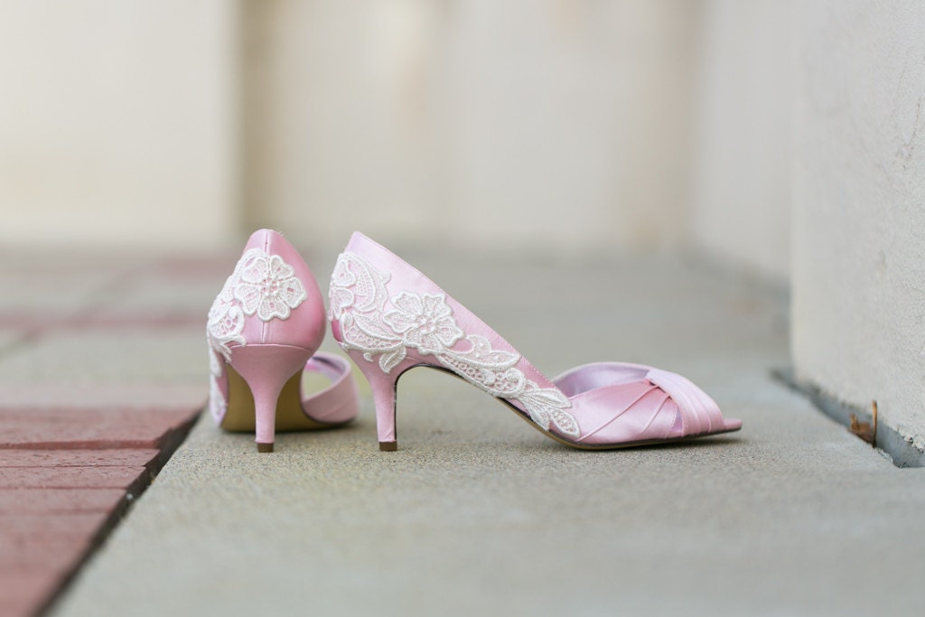 Wedding Shoes Light Pink Wedding Heels Pink Bridal by walkinonair