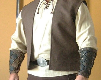 Medieval Celtic Peasant Merchant Sleeveless Short Coat Jacket Vest