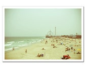 Jersey Shore Photography, Seaside Heights Canvas Print, Fun Town Pier and the Beach, Amuement Park and Ocean, New Jersey, Any Size